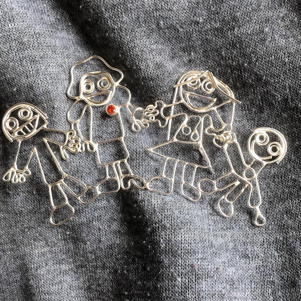 family portrait brooch, children's drawings jewellery, jewellery from children's drawings, children's drawings turned into jewellery, Sarah Hoare, handmade jewellery, bird and monkey, bespoke jewellery, kids art jewellery,
