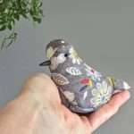 textile bird sculpture, lavender bird, big bird little bird,