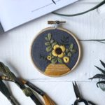 Ovo Bloom, sunflower embroidery hoop, embroidery hoop art,