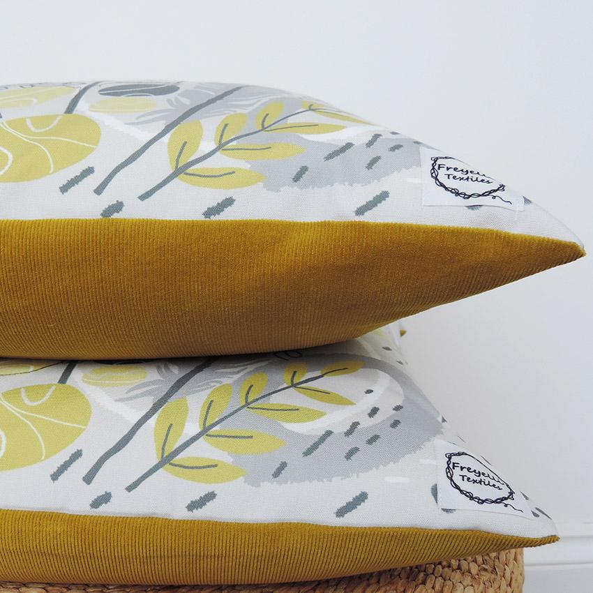 mustard cushion, Freyelli Textiles,