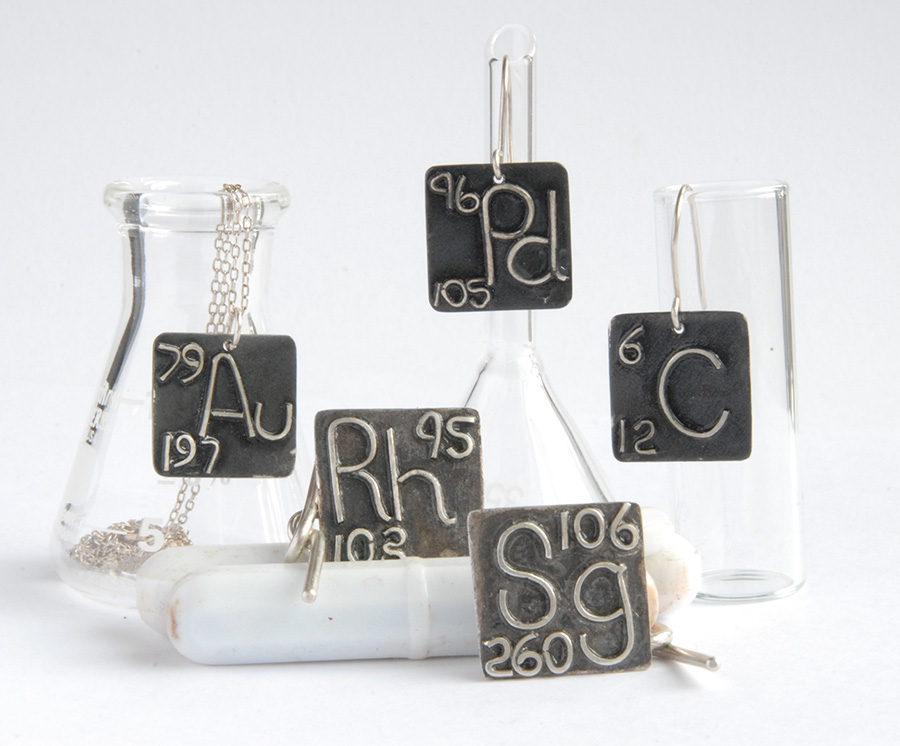 chemical elements jewellery, chemical elements necklace, jewellery for chemists, sasha garrett