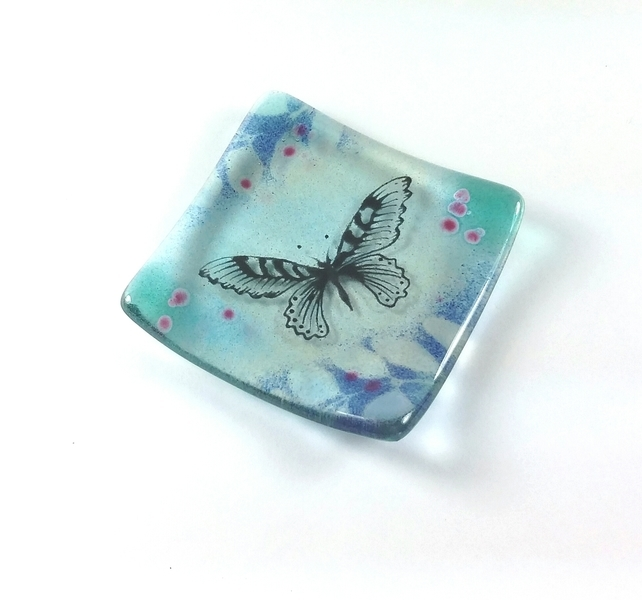 Fused Glass Dish with butterfly by Verity Pulford