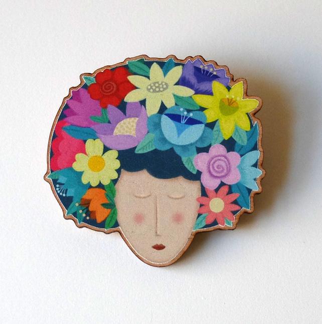 Wooden Flower Girl Brooch by Su Owen