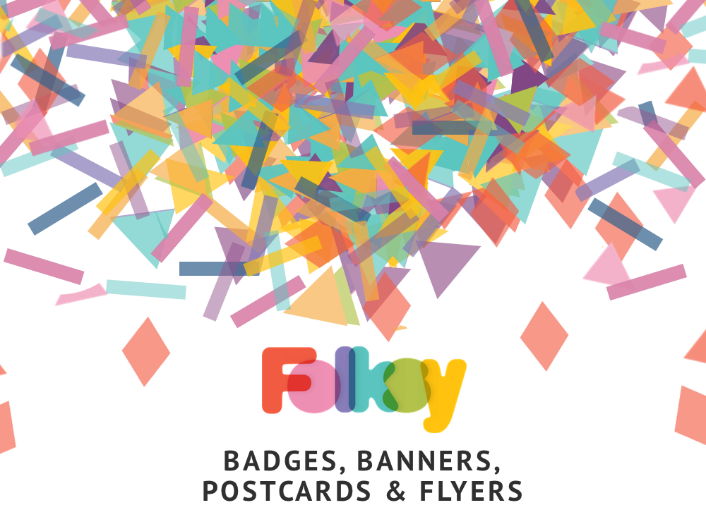 new folksy badges banners and printable flyers and postcards
