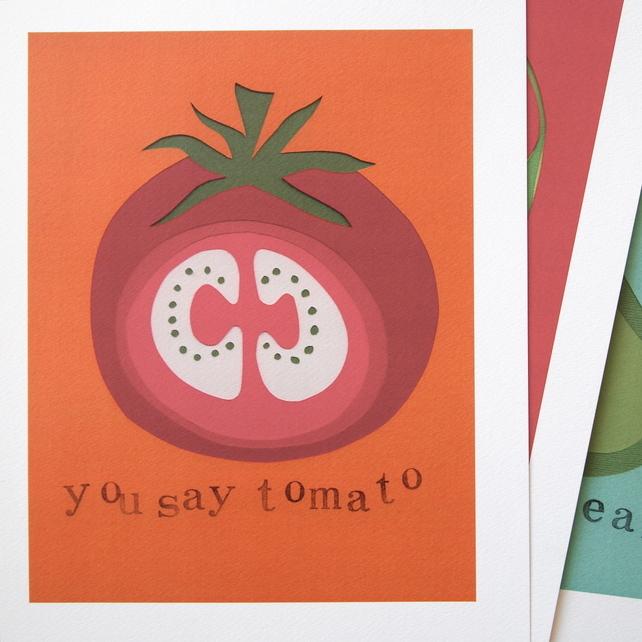 You Say Tomato Papercut Print by CecilyMae Handmade