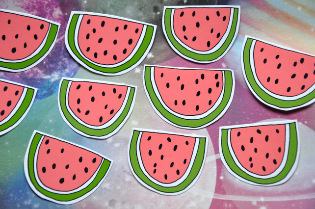 Set of 10 cute watermelon stickers by JamJarShop