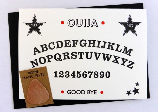 Letterpress Ouija Board Card by Typelark