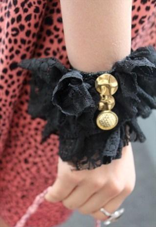 Handmade lace ruffle bracelet by Pretty Disturbia