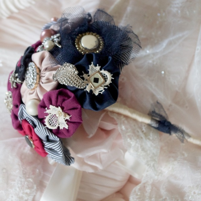 Alternative posy bouquet with vintage brooches, buttons and lace by Porcelain and Pretty Things