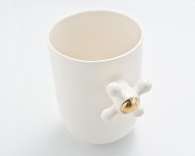 Porcelain Coffee Mug with Faucet Handle by Kina Ceramic