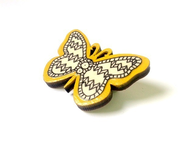 Illustrated Wooden Butterfly Brooch by Red Paper House