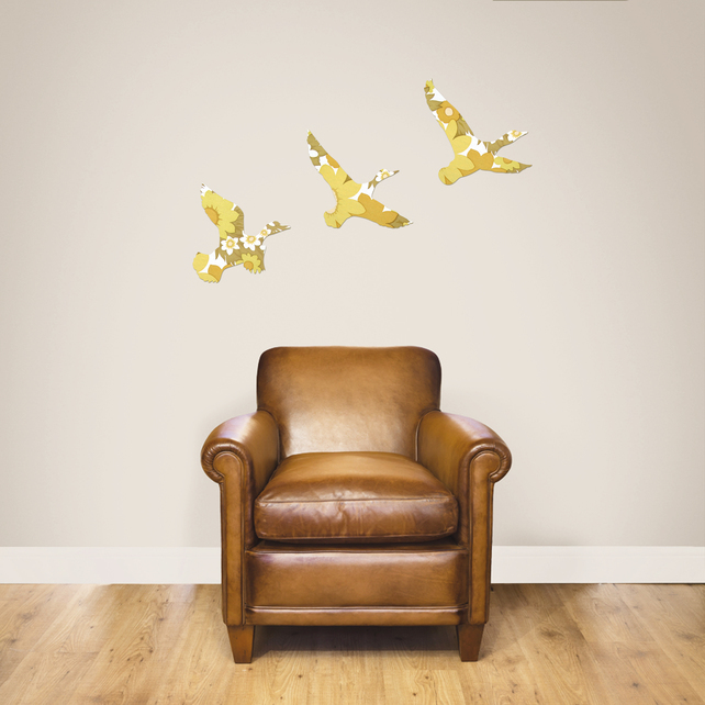 Flying ducks in vintage yellow wallpaper by Ava and Bea