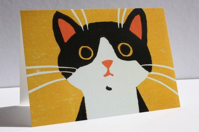 Black and White Cat Greeting Card by Here Comes the Sun