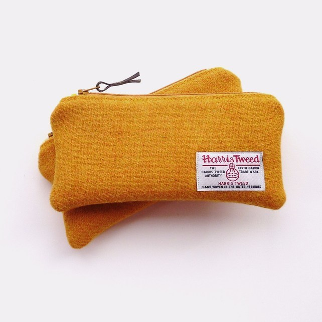 Mustard Yellow Harris Tweed Pencil Case by LifeCovers