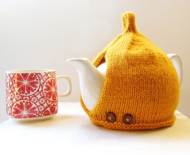 Knitted Tea Cosy in Mustard Yellow by More Tea Vicar