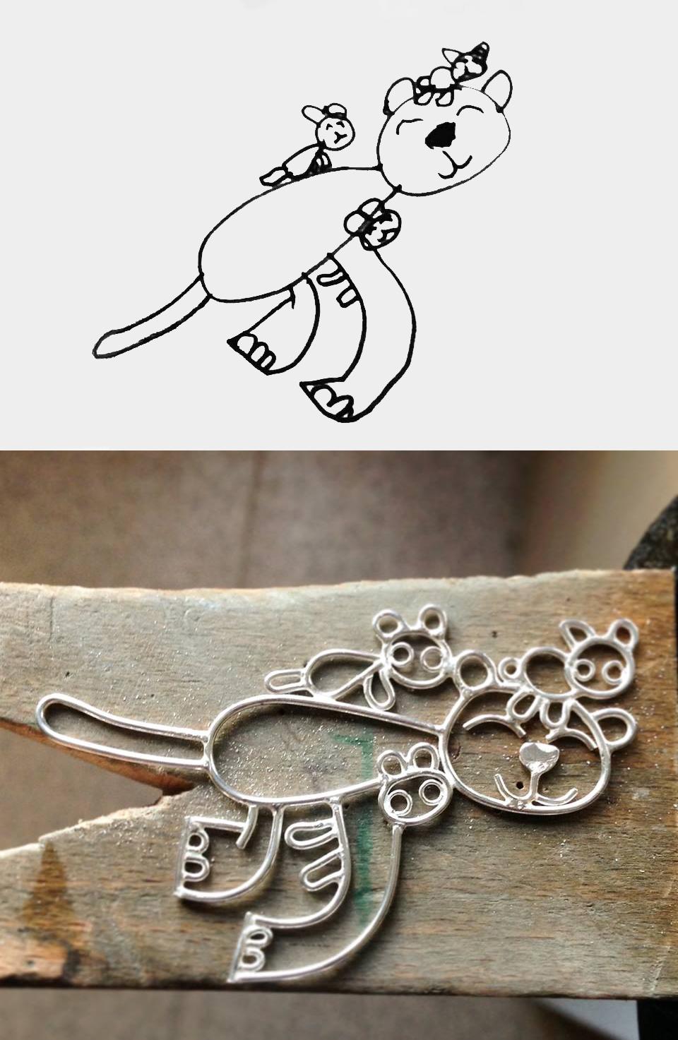 children's drawings jewellery, children's drawings turned into jewellery, Sarah Hoare, handmade jewellery, bird and monkey, bespoke jewellery, kids art jewellery,