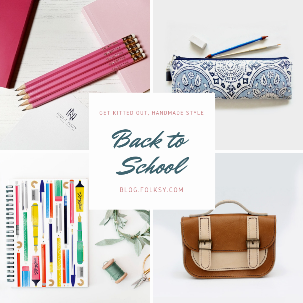 back to school ideas 2018, stationery supplies, handmade satchel, kids satchel, personalised pencils