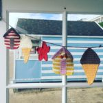 beach hut bunting, crochet bunting, clare gets crafty,