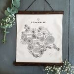 Yorkshire Map, Botanical Illustrated Yorkshire Map, Yorkshire Map wall hanging, Jade Mosinski