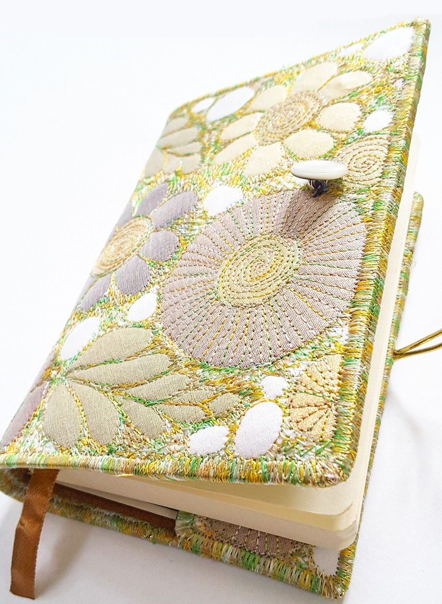 crafting with health issues, embroidered notebook, sue trevor,