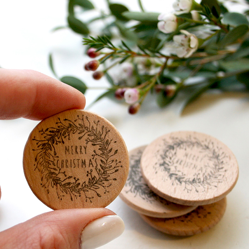 Christmas Wreath Stamp, Merry Christmas Wreath Stamp, Little Stamp Store, Fran Sherbourne, handmade stamps, personalised stamps, custom stamps, custom stamps uk,