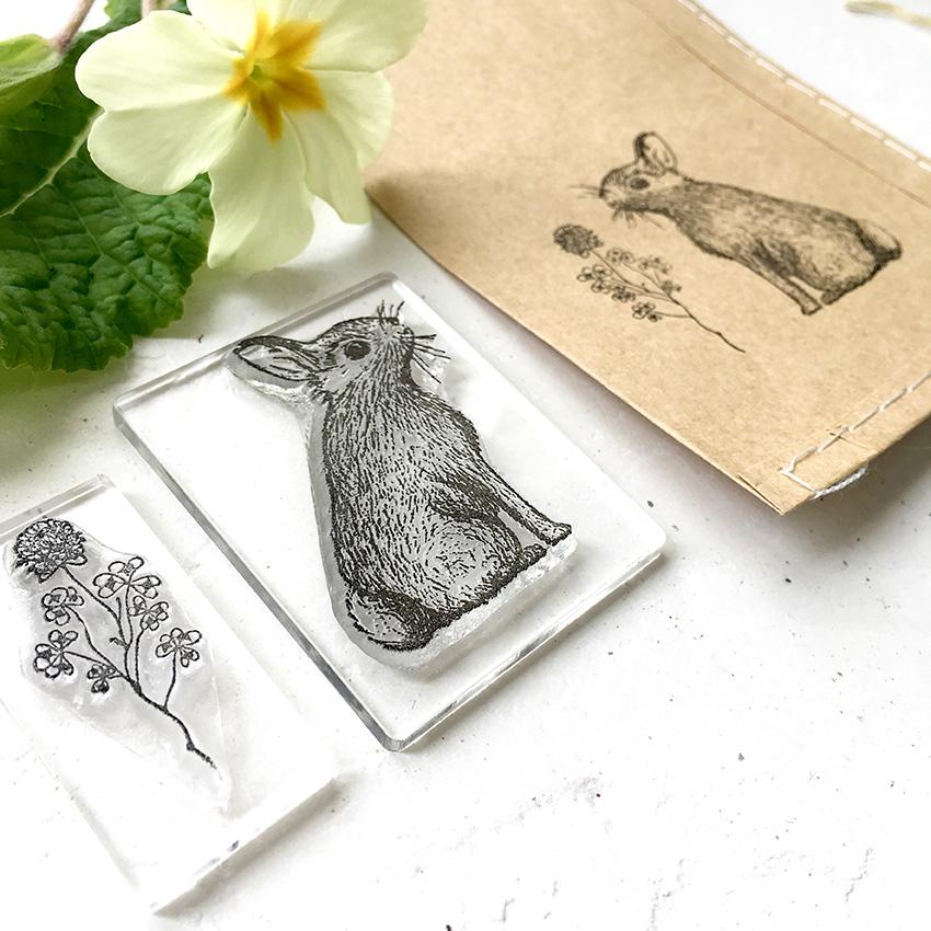 Rabbit stamp, bunny stamp, Hare stamp, Little Stamp Store, Fran Sherbourne, handmade stamps, personalised stamps, custom stamps, custom stamps uk,
