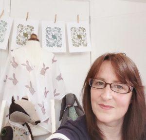 hand-printed textiles, printmaker, UK printmaker, Betsy Badge,
