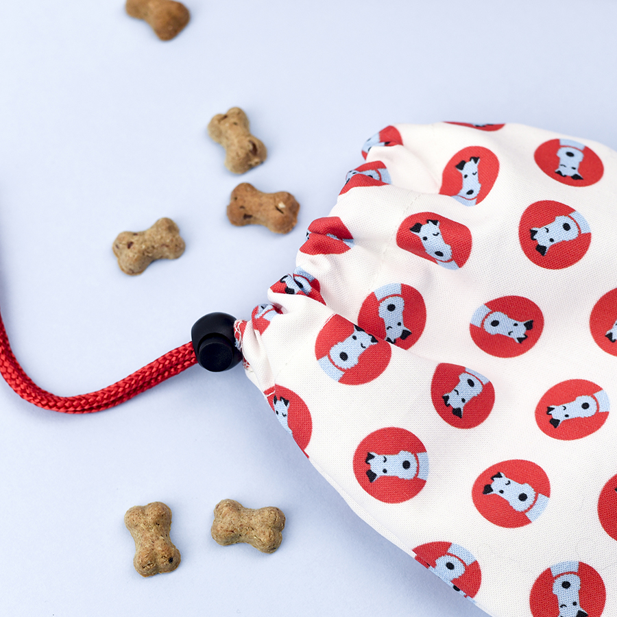 terrier print dog treat bag, dog treat bag, wire fox terrier treat bag, forever foxed,