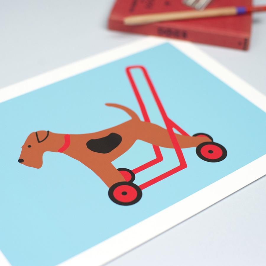 toy dog art print, terrier art print, wire fox terrier art print,