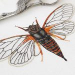 Hand Embroidered Silk Cicada, Silk hand embroidered framed art, Cicadetta Montana, Victoria Matthewson