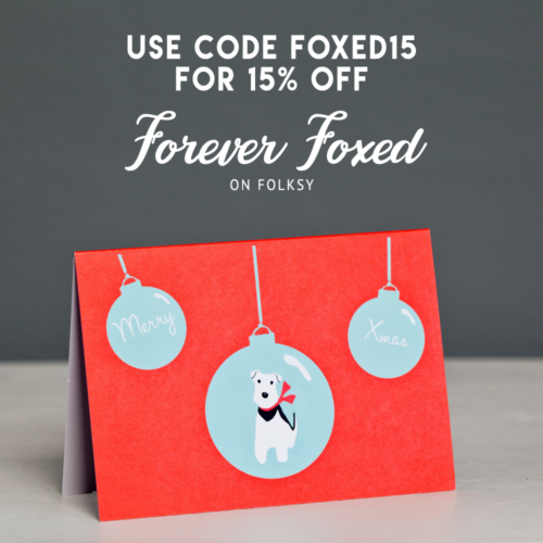 forever foxed discount offer, christmas cards for dog lovers, dog christmas cards, terrier christmas cards, fox wire terrier christmas cards,