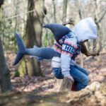share costume, handmade shark costume, kids shark costume, tired bear, shark fin and tail costume,