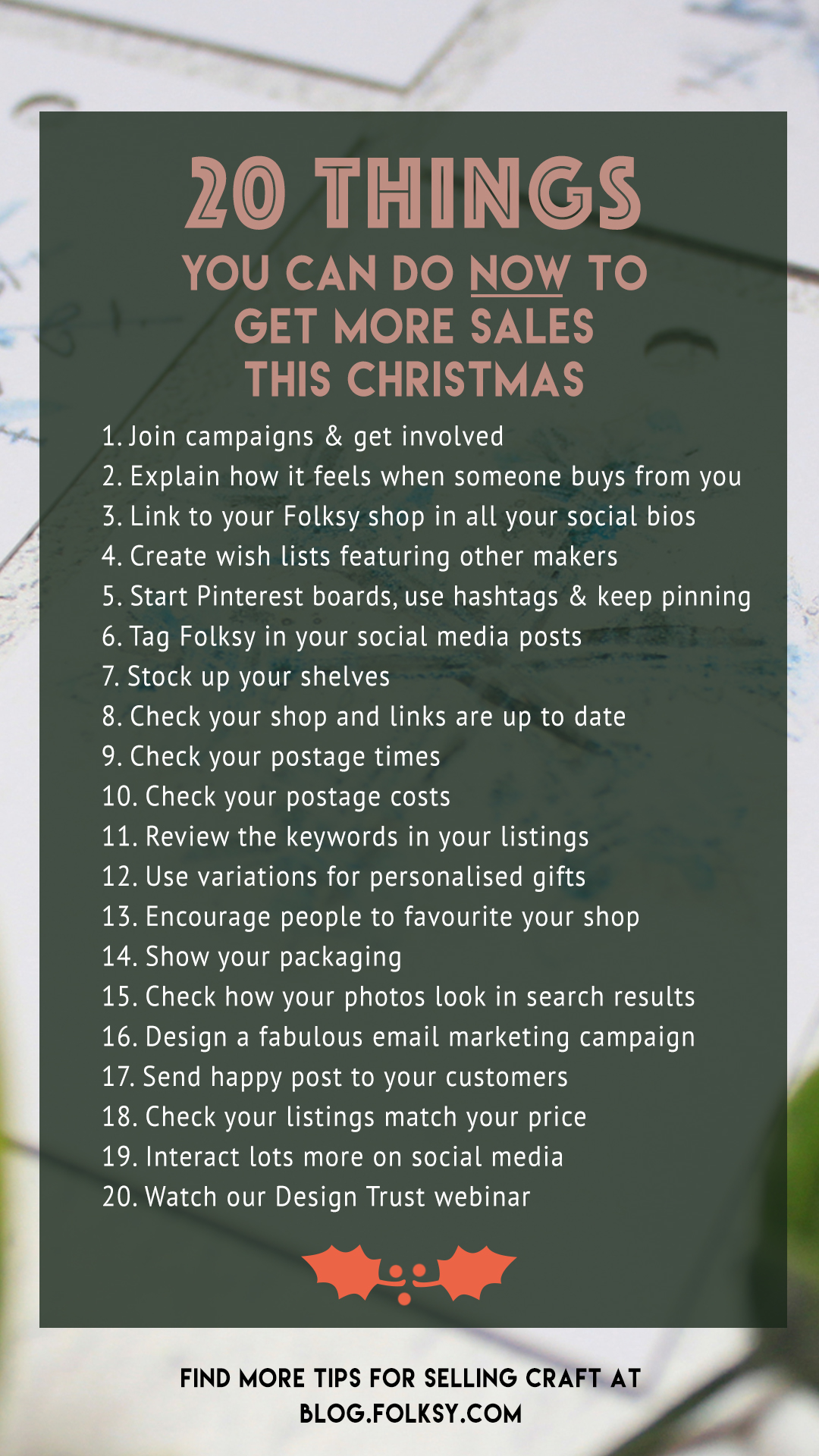 20 ways to sell more at christmas, how to sell more at christmas, marketing tips for designers and makers,