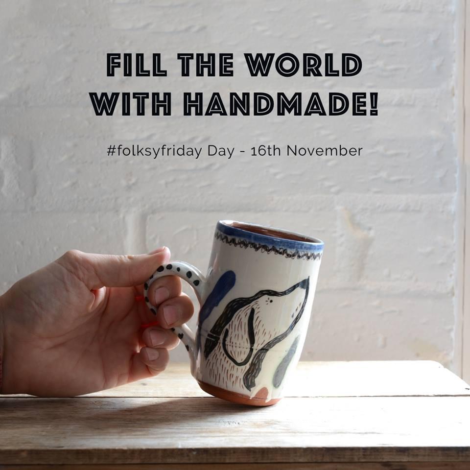 Folksy Friday, dog mug, olley pottery,