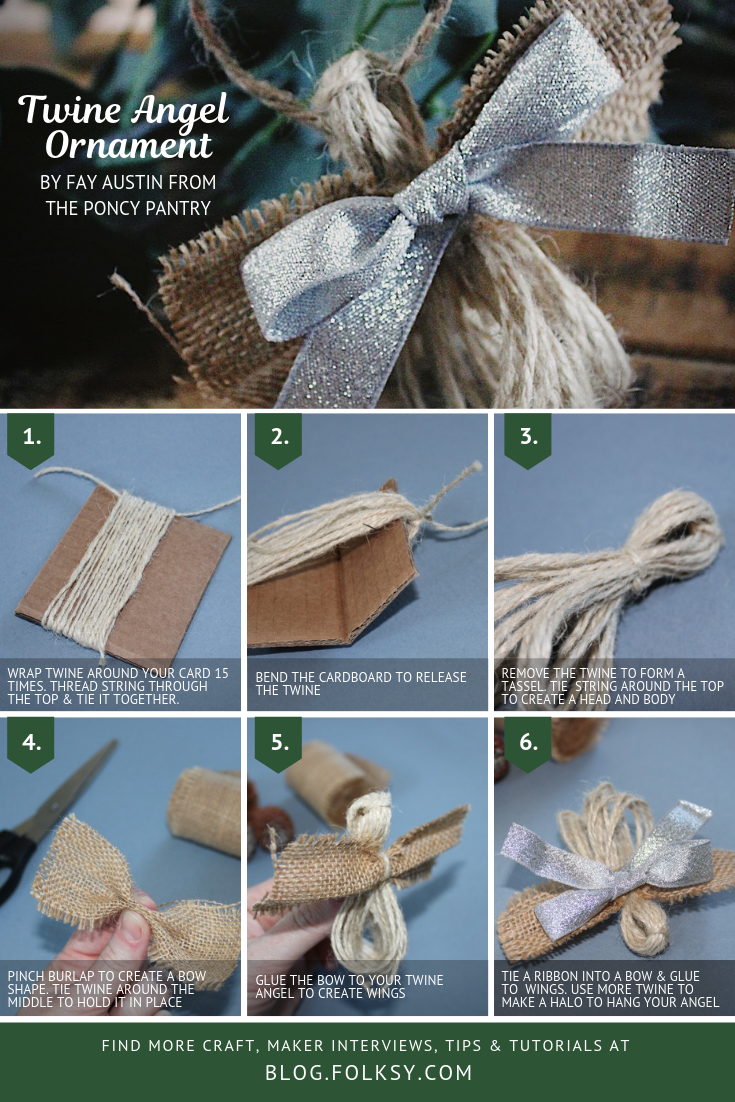 rustic christmas decoration, DIY rustic christmas decoration, rustic christmas decoration tutorial, twine angel, rustic angel decoration, chabby chic angel ornament,