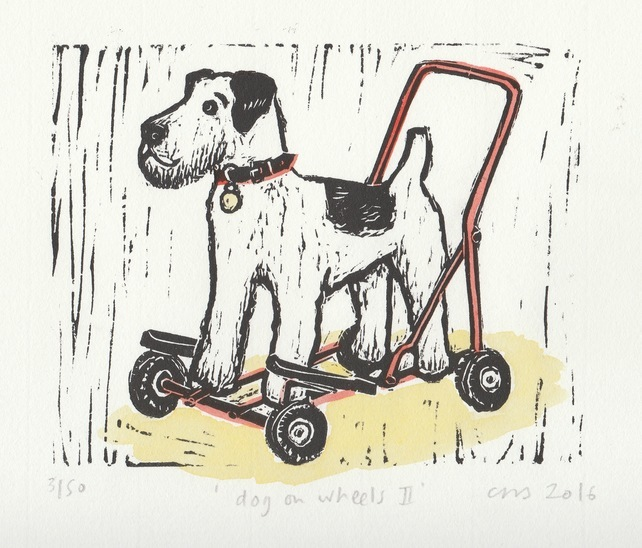 best gifts for dog lovers, gifts for dog lovers, dog gift ideas, dog on wheels art print,