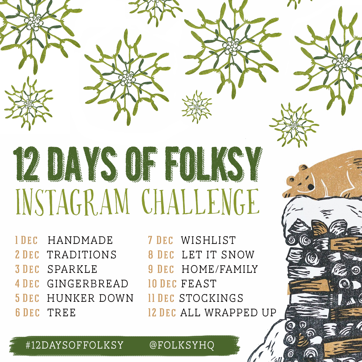 12 Days of Folksy, Instagram Challenge, Christmas Instagram Challenge, Instagram Challenge Prompts,