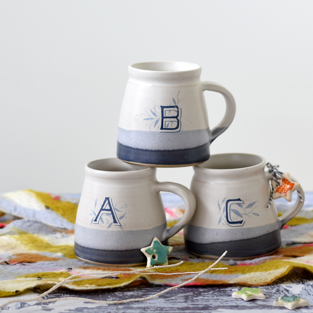 handmade monogram mug, personalised ceramic mug, 20 ways to sell more at christmas, how to sell more at christmas, marketing tips for designers and makers,