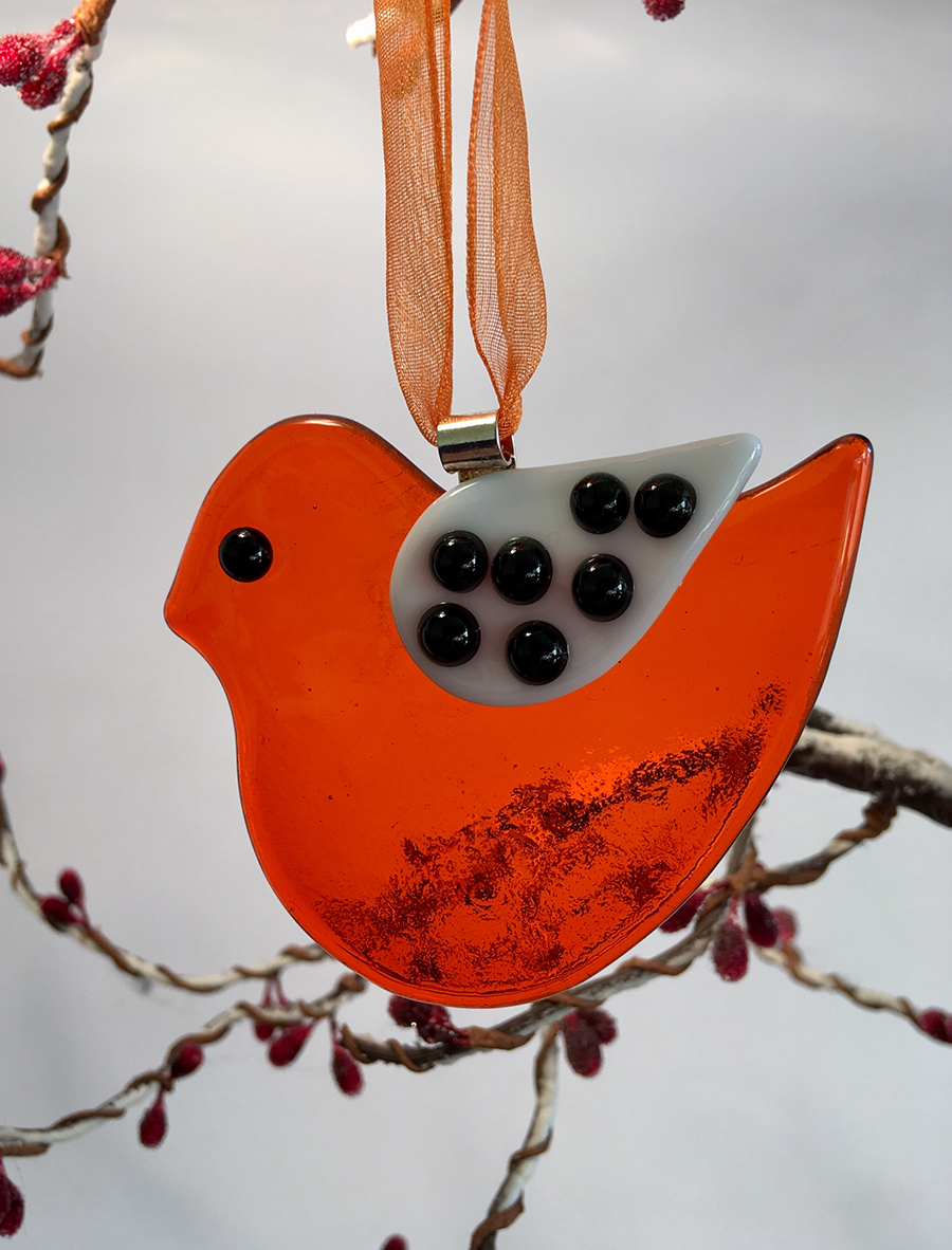 fused glass robin, glass robin decoration, handmade glass robin, 20 ways to sell more at christmas, how to sell more at christmas, marketing tips for designers and makers,