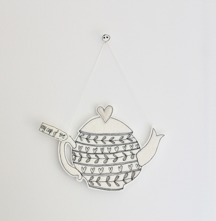 Love is a cup of tea, textile teapot, emma louise corry, textile artist, textile art,