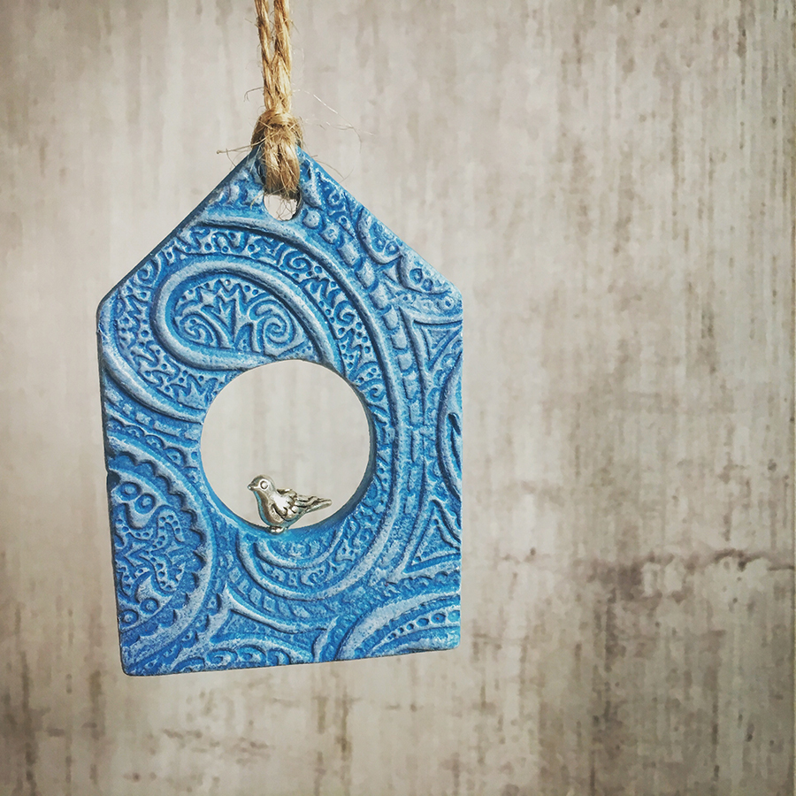 birdhouse decoration, air dry clay, ello mello handmade, bird house clay decoration, bird house hanging decoration,