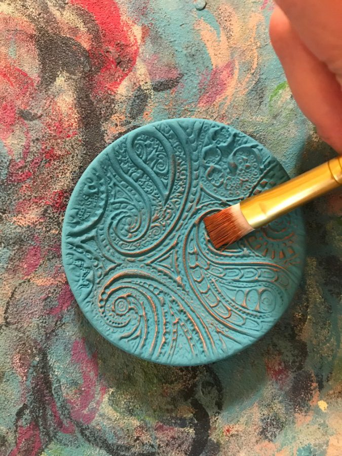 air dry clay decoration, clay lustre ring dish, ello mello handmade, turquoise and gold ring dish, turquoise and gold,