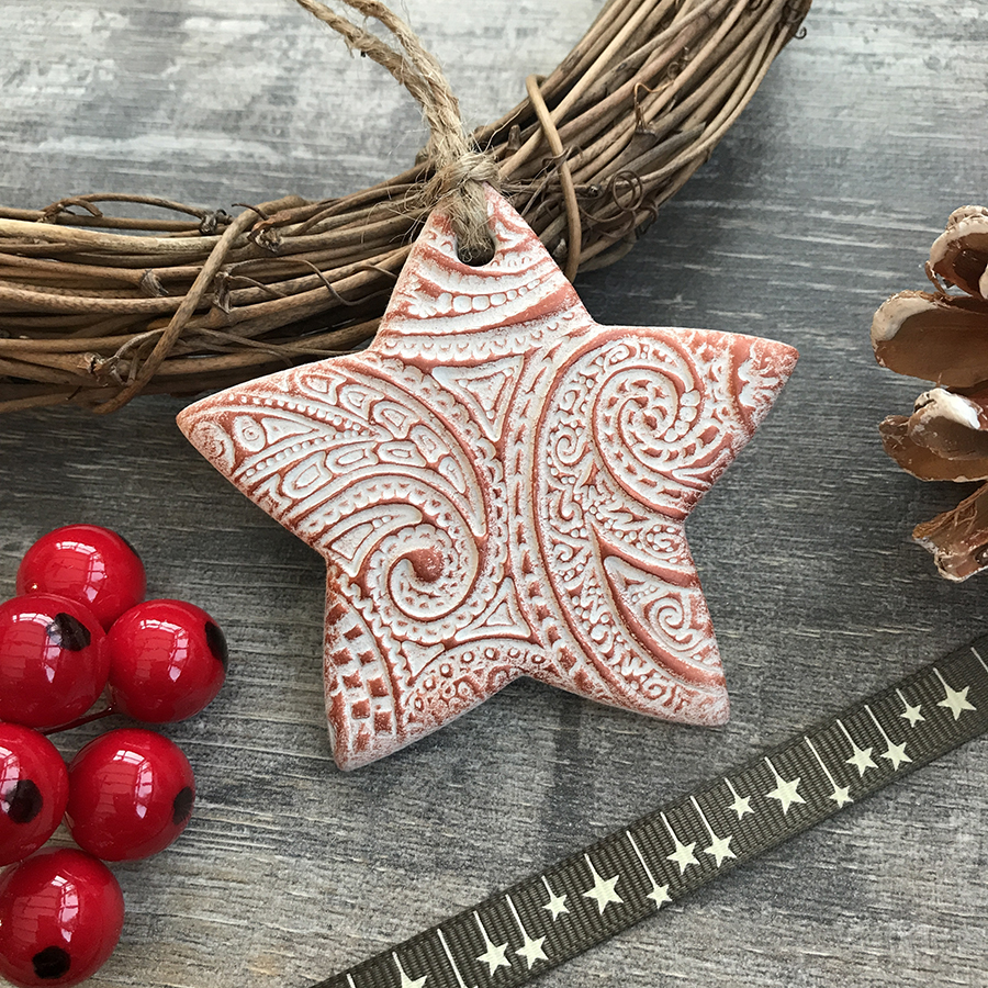 copper star decoration, ello mello handmade, clay star decoration, copper clay star decoration,