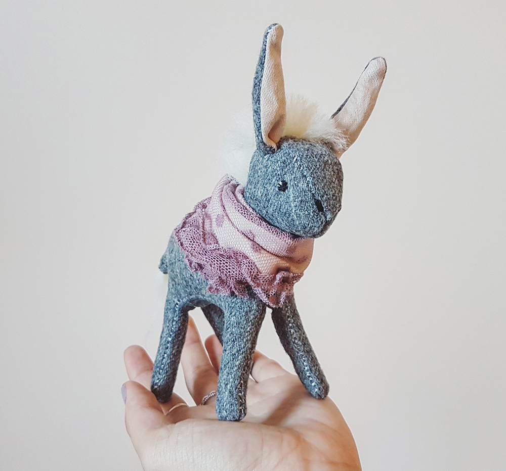 donkey doll, soft sculpture animals, seen and known, abbey wright, heirloom dolls, animal dolls, beautiful animal dolls, textile donkey, soft sculpture, soft sculpture donkey,