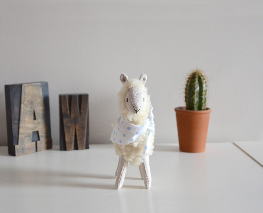 alpaca art doll, soft sculpture animals, seen and known, abbey wright, heirloom dolls, animal dolls, beautiful animal dolls, alpaca doll, textile alpaca, soft sculpture, soft sculpture alpaca,