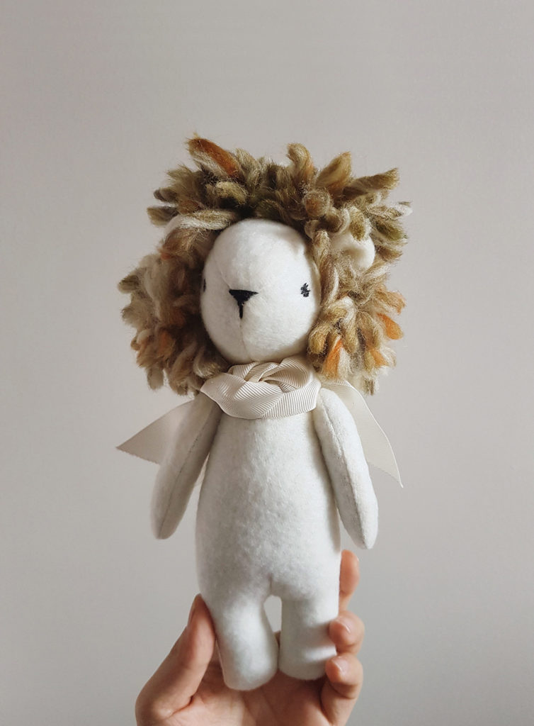 lion art doll, soft sculpture animals, seen and known, abbey wright, heirloom dolls, animal dolls, beautiful animal dolls, lion doll, textile lion, soft sculpture, soft sculpture lion,