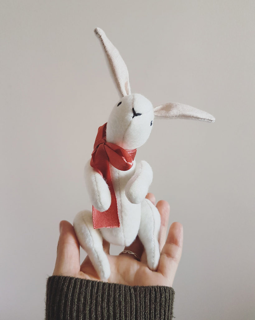 soft sculpture animals, seen and known, abbey wright, heirloom dolls, animal dolls, beautiful animal dolls, bunny doll, textile bunny, soft sculpture, soft sculpture rabbit,