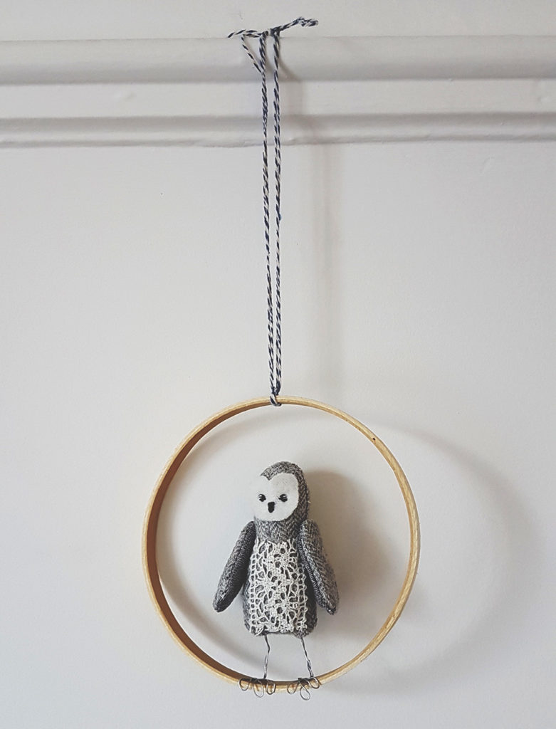 textile owl decoration, soft sculpture animals, seen and known, abbey wright, heirloom dolls, animal dolls, beautiful animal dolls, owl in hoop, textile owl, soft sculpture, soft sculpture owl,