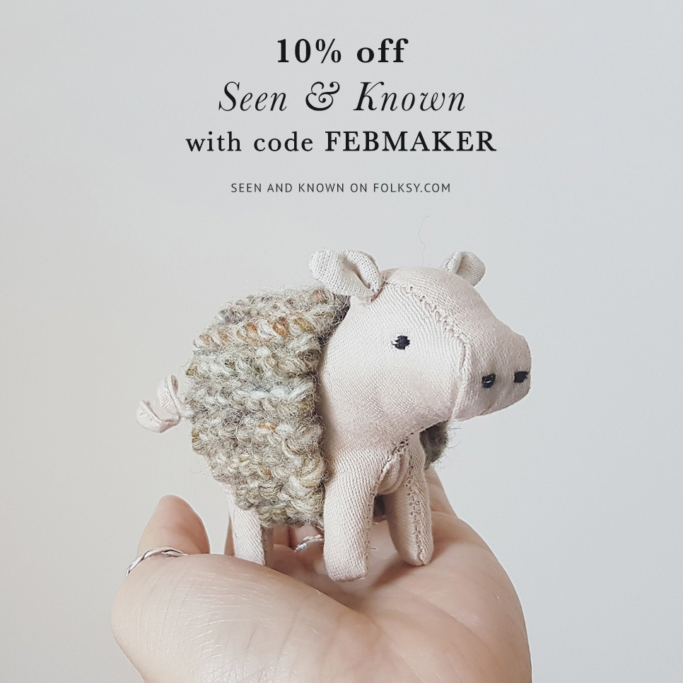 soft sculptures, soft sculpture animals, seen and known, abbey wright, discount code, offer,