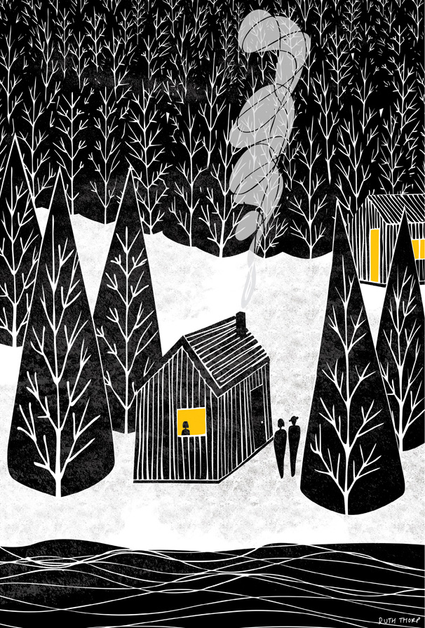 Cabin in the woods illustration, Ruth Thorp, Ruth Thorp illustrator, UK illustration, illustrated art prints, meet the maker,